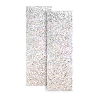 Set x 2 Tapetes Camino Shaggy 61 x 21 cm Blanco