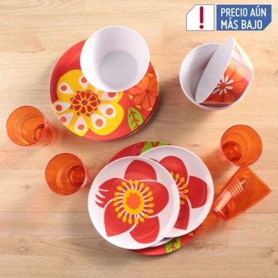 Vajilla Melamina 16 Piezas Flores Naranjas