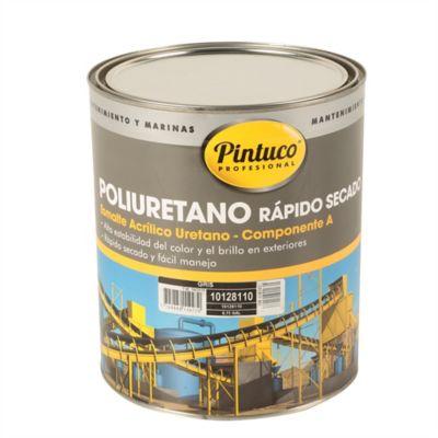 Esmalte Poliuretano Rápido Secado Gris 3/4 De Galón