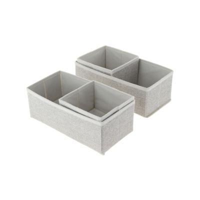 Set x4 Cajas Organizadoras En Tela Beige