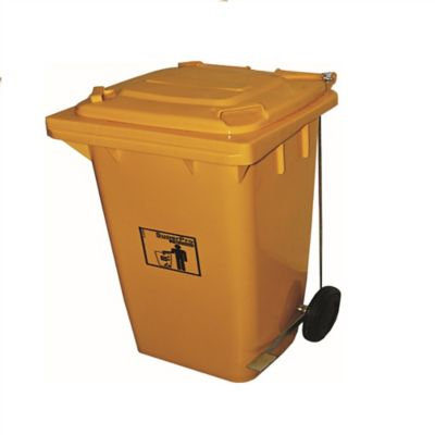 Basurero Plastico con Pedal Amarillo 240 Litros 100x100cm