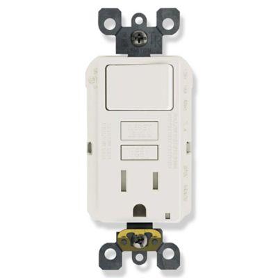 Interruptor + Toma de Corriente Eléctrica con Protección GFCI 15 Amperios Blanco Leviton