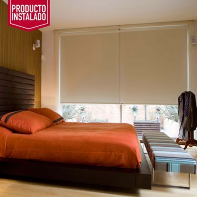 Blackout Enrollable Absolut Blanco A La Medida Ancho Entre 120.5-130  Cm Alto Entre  300.5-320 Cm