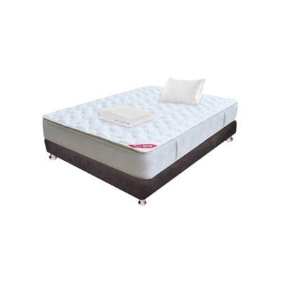 Combo Colchon Sencillo Pillow Top 100x190 cm + Basecama Café + Almohada + Protector