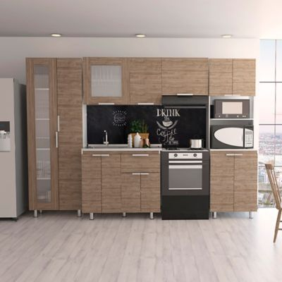 Cocina Integral Samara 2.90 Metros Miel Incluye Mesón Izquierdo En Acero Inoxidable , Mueble Alacena , Módulo Microondas