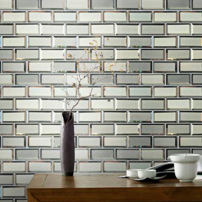Mosaico Vidrio Espejo Brick Plata 30X30cm