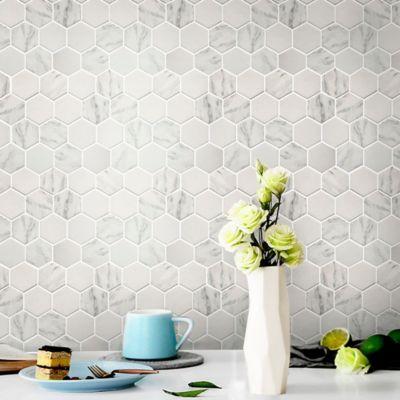 Mosaico Vidrio Reciclado Blanco Panal 30X26cm