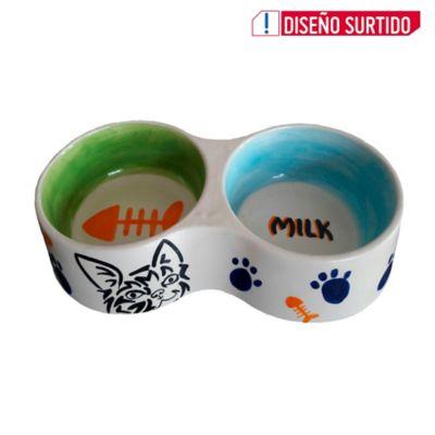 Comedero Bebedero Perro/Gato Doble Colores Surtidos