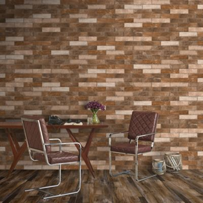 Piso Pared Porcelanato London Cotton Café 6x25 cm caja 0.3 m2