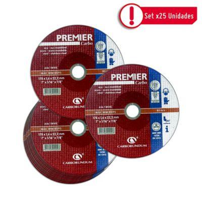 Disco Abrasivo Corte Acero 7X1/16 pulg Premier - Paq X 25