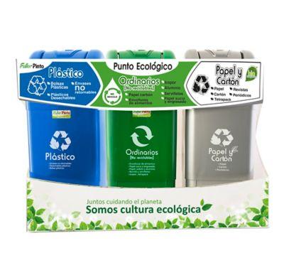 Punto Ecológico 35 Litros Gris-Verde-Azul Ecoplast