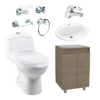 Combo Smart : Sanitario Redondo Smart + Mueble Básico + Lavamanos Marsella + Grifería Koral + Accesorios Ródano