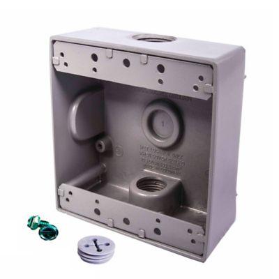 Caja Aluminio 2400 - Cuadrada 2 Salidas de 3/4 Pulg X 12 Unds