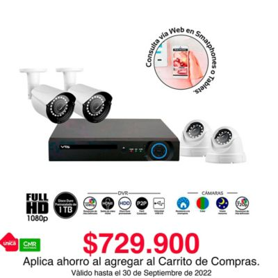 Kit Dvr Full Hd 1080P 4 Cámaras Disco Duro 1Tb