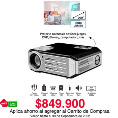 "Proyector HD 1080P 3200 Lumens Amplia 200"""