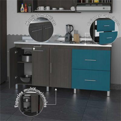 Mueble Inferior Para Cocina 180 cm Ancho x 92 cm Alto x 48 cm Fondo Zancini Azul