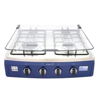 Estufa Sobremesa 4 Puestos Tapa de Vidrio Gas Natural Azul