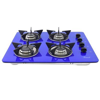 Estufa Vidrio Templado a Gas Propano 62x52cm 4 Puestos Encendido Eléctrico Azul