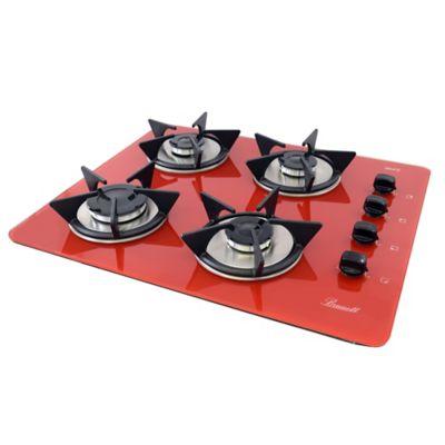 Estufa Vidrio Templado a Gas Propano 62x52cm 4 Puestos Encendido Eléctrico Rojo