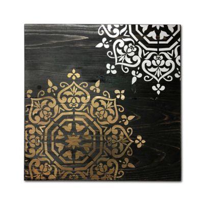 Cuadro Decorativo en Madera 40x40x1,5 cm Negro - Dorado