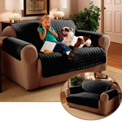 Protector de Sofá para Mascotas Doble Faz Negro-Gris 2 Puestos