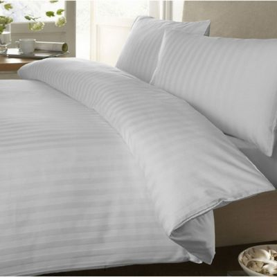 Set Duvet Sateen Stripe King + Funda + Juego Sábanas+ Plumón Blanco