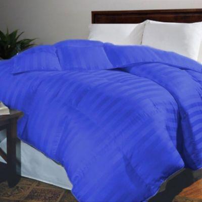 Plumón Sateen Stripe Sencillo Azul Imperial