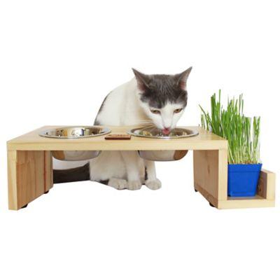 Comedero para Mascotas en Pino + Hierba