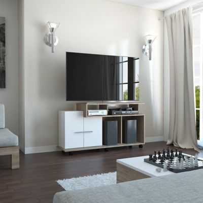 Rack para TV de 50 Pulgadas Valera 65x120x36,5 Miel/Blanco