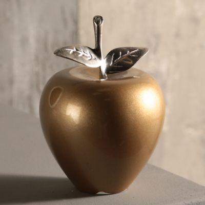 Fruta Madera Manzana 9 cm Dorada Brillante