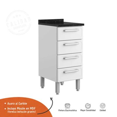Mueble Inferior Gourmet  4 Cajones con tabla Blanco