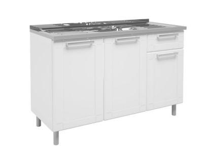 Mueble Inferior Para Cocina Multifuncional 3 Puertas 1 Cajon Con Meson 105 cm Ancho Blanco