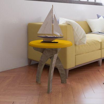 Mesa de Apoyo Lateral Jade 50x50x50cm Amarillo/Canela