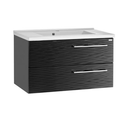 Mueble De Baño Sin Lavamanos 60 cm 2 Cajones, Metálico, Color Negro, Serie Dune