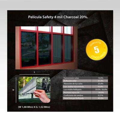 Película de Seguridad 4 Mil 20 Charcoal 1,52m Ancho HGCSSF420