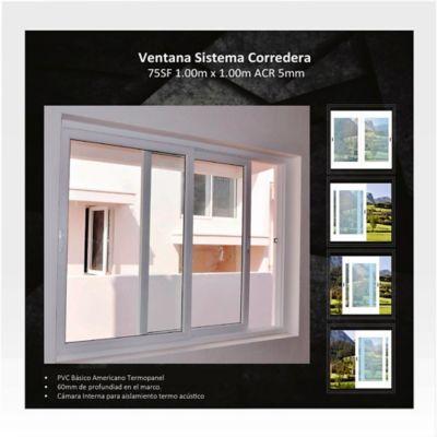 Ventana Corrediza 1x1 m Blanco HGWSBF75T100SF