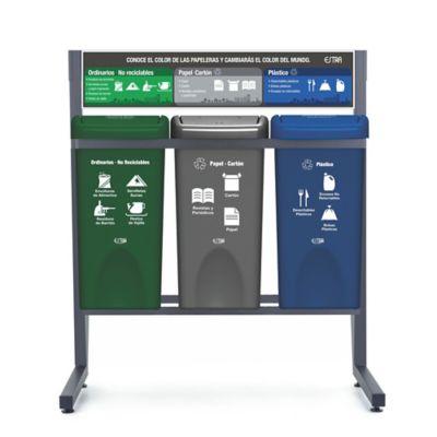Punto Ecológico 3 Puestos 35 Litros Papel Cartón - Ordinarios - Plástico