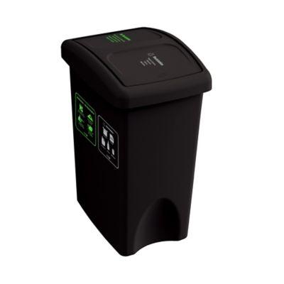 Papelera Vaiven Plana Doble ECO 35 Litros Negro- Reciclable - No Reciclable