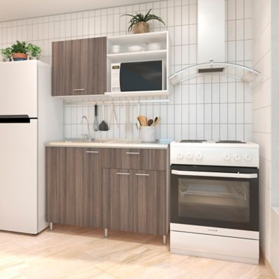 Cocina Integral Valencia 1.20 Metros Incluye Mesón En Acero Inoxidable Con Poceta Izquierda Incienso