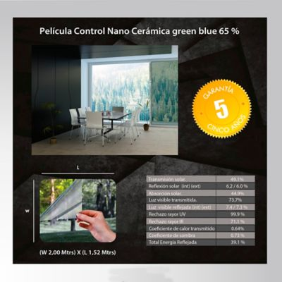 Película Control Nano Cerámica Verde Azul 2x1,52m HGCSGBL65-2m