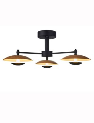 Lámpara De Techo Platillo Led 3 Luces 15w Tipo Madera