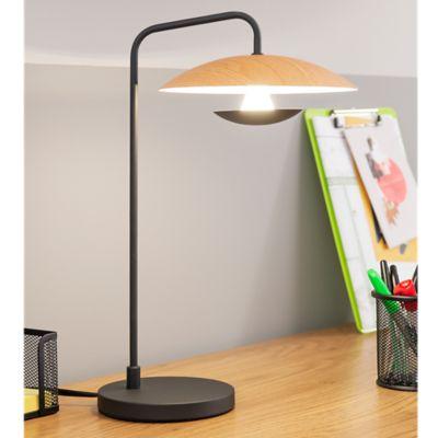 Lámpara De Mesa Platillo Led 1 Luz 5w Tipo Madera