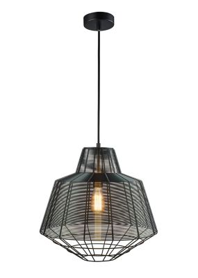 Lámpara Colgantes Rejilla 1 Luz E27 60w Negro Plomo