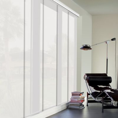 Cortina Panel Oriental Solar Screen 5 Blanco A La Medida Ancho Entre 370.5-390  Cm Alto Entre  340.5-360 Cm