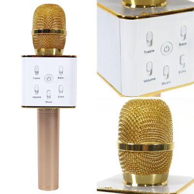 Micrófono Recargable Karaoke Bluetooth Q7 Dorado