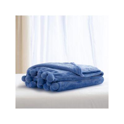 Manta Pompon Azul 110x140 cm