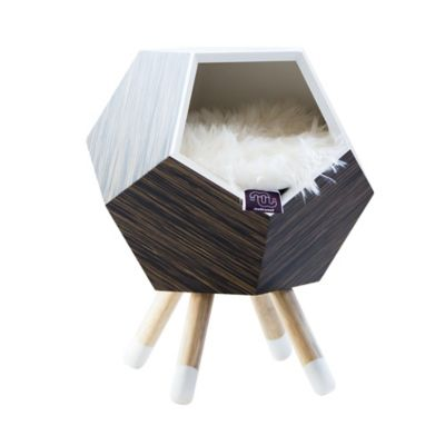 Casa Madera para Gato con Patas + Cojín Modo 47X56Cm Ébano Finlandés