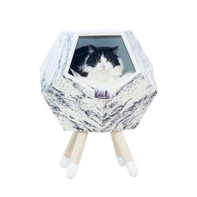 Casa Madera para Gato con Patas Modo 47X56Cm Ojo De Pájaro