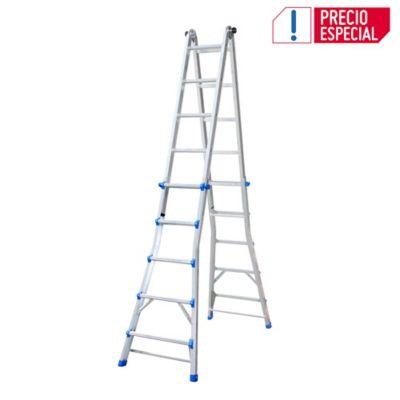 Escalera 5.7mt 4x5 20 Pasos Telescópica-Multipropósito Aluminio