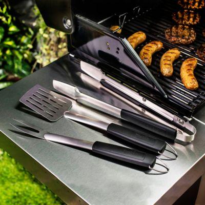Set Pinzas+Espatula+Tenedor en Acero